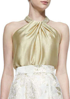 Carmen Marc Valvo Beaded-Neck Toga Top