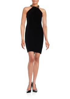 CARMEN MARC VALVO Beaded Neck Velvet Dress