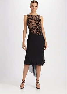 Carmen Marc Valvo Beaded Silk Chiffon Dress