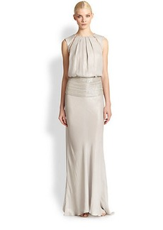 Carmen Marc Valvo Beaded Silk Lamé Gown