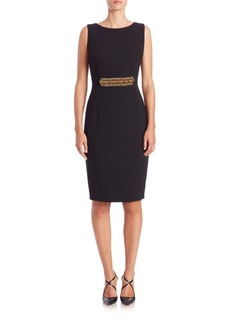Carmen Marc Valvo Beaded-Waist Sheath Dress
