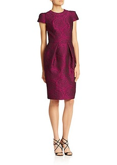 Carmen Marc Valvo Bell-Sleeved Brocade Cocktail Dress