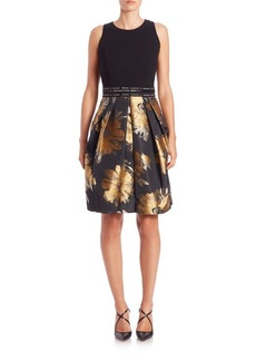 Carmen Marc Valvo Belted Floral Print Party Dress