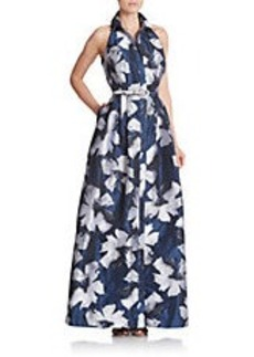 CARMEN MARC VALVO Belted Floral-Print Shirtdress Gown