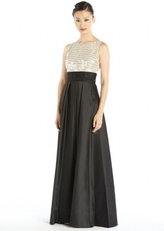 Carmen Marc Valvo black and ivory woven shiny twill and paillette pleated gown