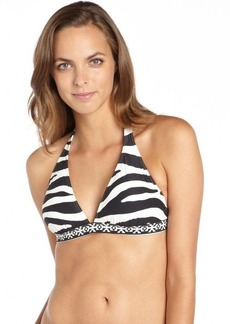 Carmen Marc Valvo black and white stretch 'Wild Stripe' halter bikini top