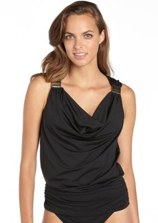 Carmen Marc Valvo black stretch 'Cape Town' shirred buckle accent tankini