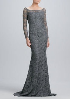 Carmen Marc Valvo Boat-Neck Lace Gown with Metallic Highlights