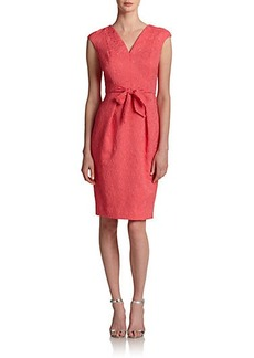 Carmen Marc Valvo Bow-Front Brocade Dress