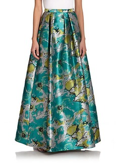 Carmen Marc Valvo Brocade A-Line Skirt