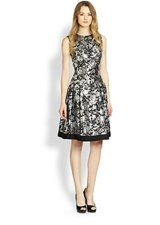 Carmen Marc Valvo Brocade Fit-And-Flare Party Dress