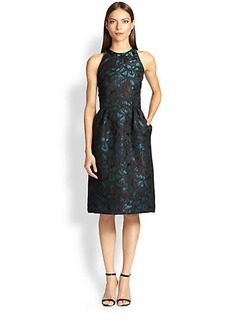 Carmen Marc Valvo Brocade Ikat-Print Dress
