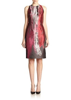 Carmen Marc Valvo Brush-Stroke Sheath Dress