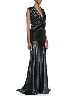 Carmen Marc Valvo Cap-Sleeve Beaded Band Gown, Black