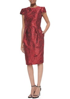 Carmen Marc Valvo Cap-Sleeve Brocade Cocktail Dress
