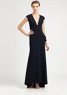 Carmen Marc Valvo Cap-Sleeve Crepe Gown