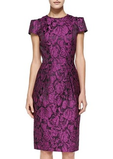Carmen Marc Valvo Cap-Sleeve Floral Sheath Dress