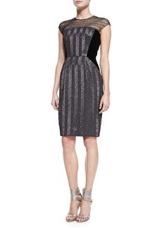 Carmen Marc Valvo Cap-Sleeve Illusion-Neck Beaded Cocktail Dress