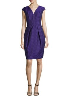 Carmen Marc Valvo Cap-Sleeve Jacquard Cocktail Dress  Cap-Sleeve Jacquard Cocktail Dress