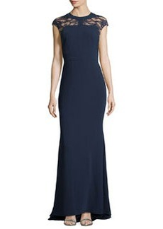 Carmen Marc Valvo Cap-Sleeve Lace-Top Gown, Midnite