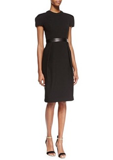Carmen Marc Valvo Cap-Sleeve Leather-Waist Dress, Black