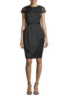 Carmen Marc Valvo Cap-Sleeve Swiss-Dot Sheath Dress