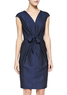 Carmen Marc Valvo Cap-Sleeve Tie-Front Cocktail Dress