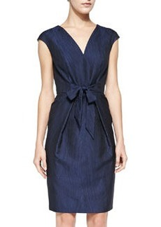 Carmen Marc Valvo Cap-Sleeve Tie-Front Cocktail Dress