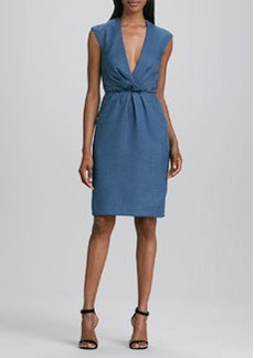 Carmen Marc Valvo Cap-Sleeve V-Neck Dress