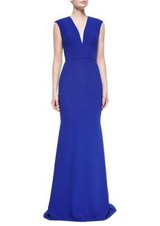 Carmen Marc Valvo Cap-Sleeve V-Neck Tailored Gown  Cap-Sleeve V-Neck Tailored Gown