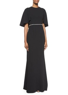 Carmen Marc Valvo Cape-Sleeve Embellished Gown