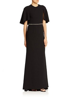Carmen Marc Valvo Cape-Sleeve Flared Gown