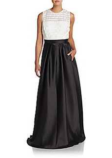 Carmen Marc Valvo Checked-Bodice Colorblock A-Line Gown