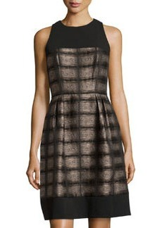 Carmen Marc Valvo Checkered-Print A-Line Cocktail Dress, Black/Camel