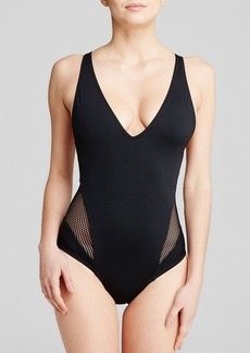 Carmen Marc Valvo City Slick V-Neck One Piece Swimsuit
