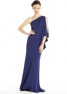 Carmen Marc Valvo cobalt crepe ruffled one shoulder gown