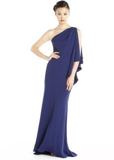 Carmen Marc Valvo cobalt crepe ruffled one shoulder gown