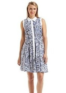 Carmen Marc Valvo Collared Paisley Dress
