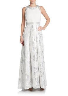 Carmen Marc Valvo Collection Beaded Metallic-Floral Gown