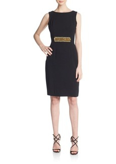Carmen Marc Valvo Collection Beaded-Waist Sheath Dress