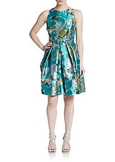 Carmen Marc Valvo Collection Brocade A-Line Dress