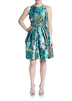 Carmen Marc Valvo Collection Brocade A-Line Dress