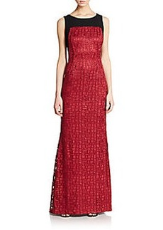 Carmen Marc Valvo Collection Colorblock Basketweave Gown
