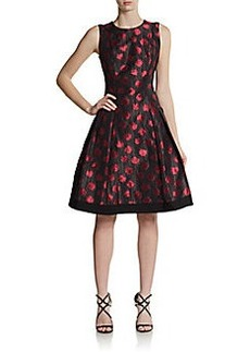 Carmen Marc Valvo Collection Dotted Fit-And-Flare Dress