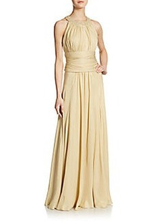 Carmen Marc Valvo Collection Embellished-Collar Silk Gown