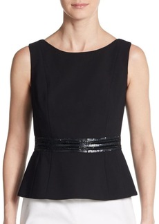 Carmen Marc Valvo Collection Embellished Crepe Peplum Top