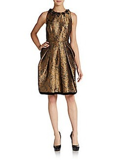 Carmen Marc Valvo Collection Embellished Fit-And-Flare Brocade Dress