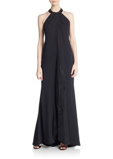 Carmen Marc Valvo Collection Embellished Fringe Halter Gown