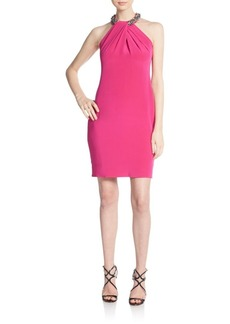Carmen Marc Valvo Collection Embellished Silk Halter Dress