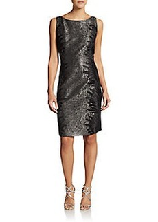 Carmen Marc Valvo Collection Embroidered Metallic Cocktail Dress